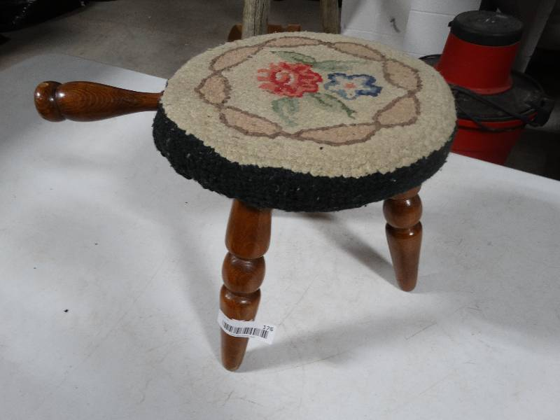Magnificent Wooden Milking Stool Foot Rest W Floral Pad Wichita High Gamerscity Chair Design For Home Gamerscityorg