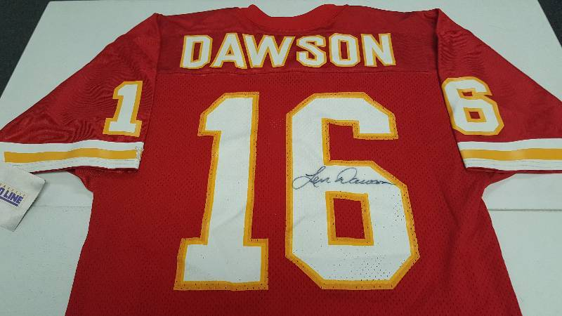 huge selection of 0c6e4 8e874 Len Dawson Autographed Kansas City Chiefs Red NFL Pro Line ...