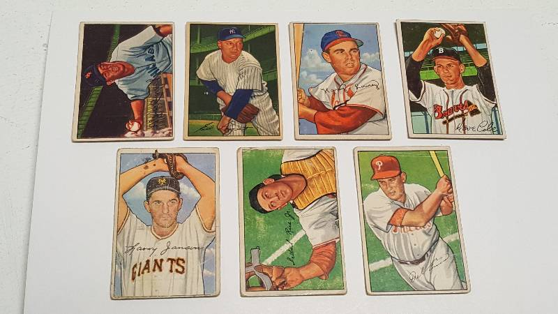 1952 Bowman Vintage Baseball Card Lot Of 7 W Peanuts Lowrey