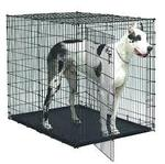"Large Wire Pet Kennel w/ plastic Pan bottom, 54"" x 36"" x 45"" tall, opens from two sides, some wires are bent, plastic pan cracked"