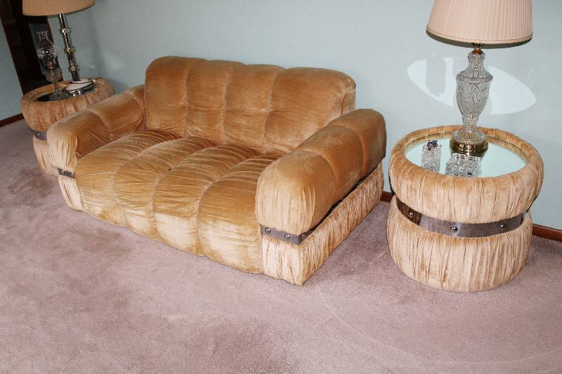 6 Piece Upholstered Living Room Set Sofa 2 Chairs Coffee Table And 2 End Tables W Mirror