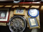 2 wall clocks, 4 framed pictures, & wall decor