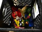 lot of kids toys & 2 small storage containers