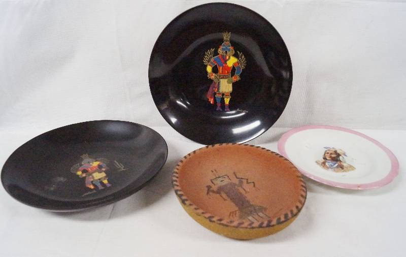 Lot of 4 Native American Plates - 2 Black KAHCINA and Two Others ...