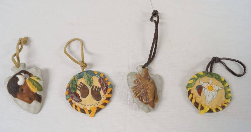 Native American Christmas Ornaments.Set Of 4 Native American Themed Ceramic Christmas Ornaments