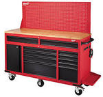 Milwaukee 60 Inch 11-D and 1-Door 22 Inch D Mobile Workbench w/ Adj. Height Pegboard Back Wall, Red and Black