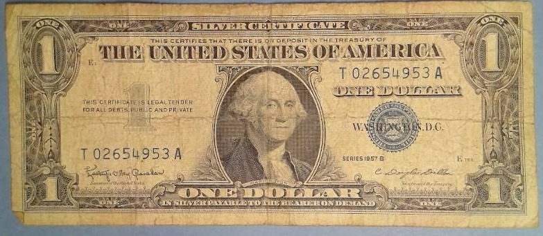 1957 B $1.00 Silver Certificate | Coins, Paper Currency, Foreign ...