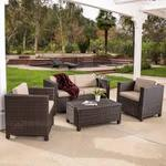 Kappa 4 Piece Seating Group with Cushion - Dark Brown and Beige