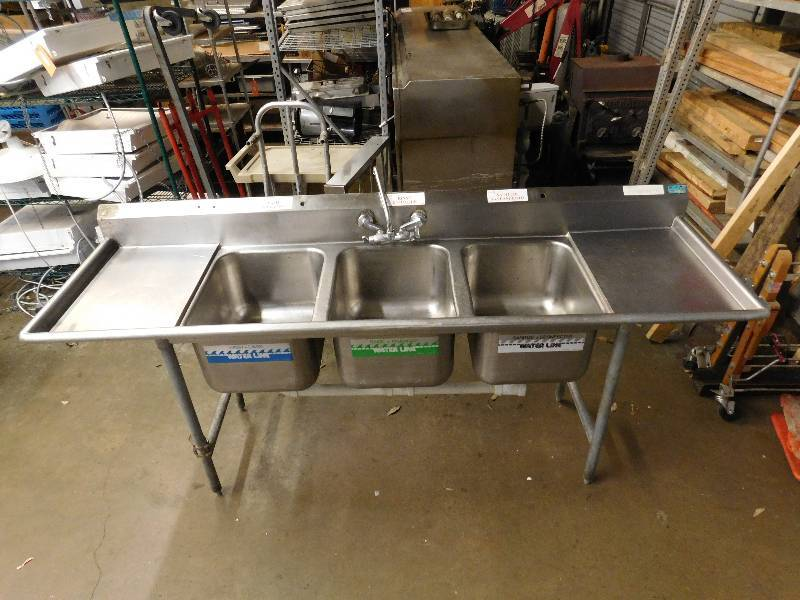 3 Bay Stainless Steel Sink With Drainboards Haskell Summer