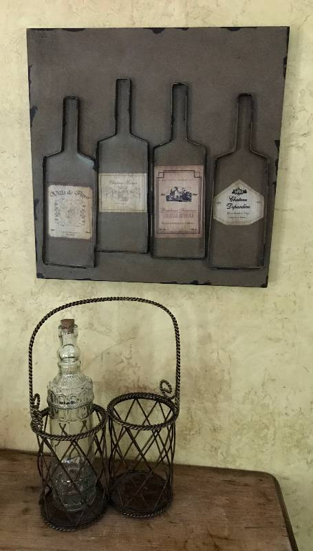 Metal Wine Wall Décor 15 12 X 15 12 And Wine Bottle Caddy With