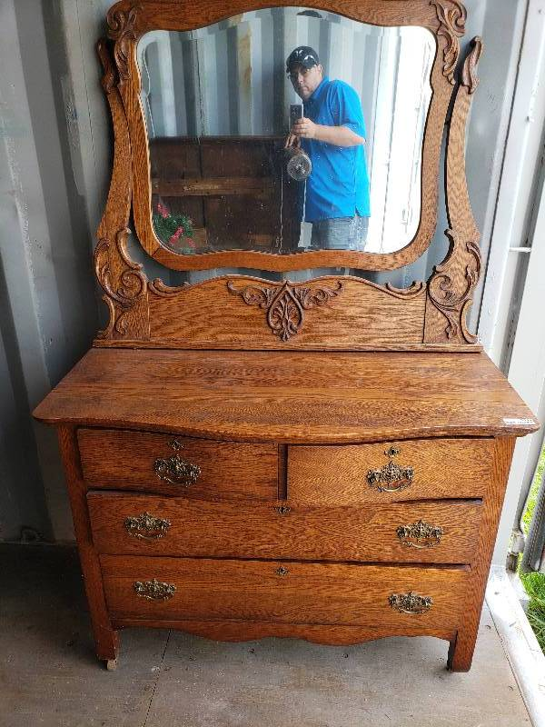 Antique Dresser With Ornate Mirror Garden City Antiques And More