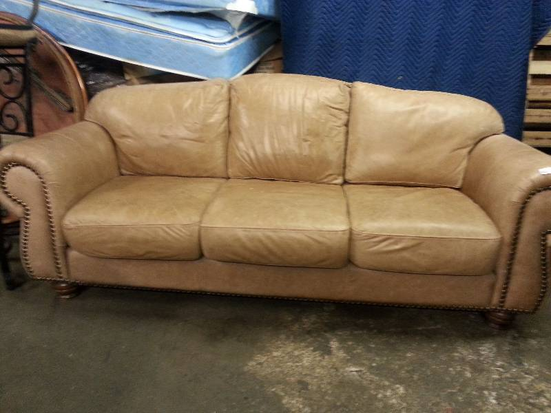 Light Tan Leather Couch 190 The Cage