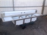 Nice stainless steel three bay sink 90 inches long by 24 inches deep sink vessels are 18 x 18 x 13 comes with legs