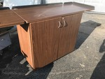 New rollaround lockable cabinet has keys with fold up full down side pieces to casters a little messed up nice cabinet new be great portable bar fusion imagination