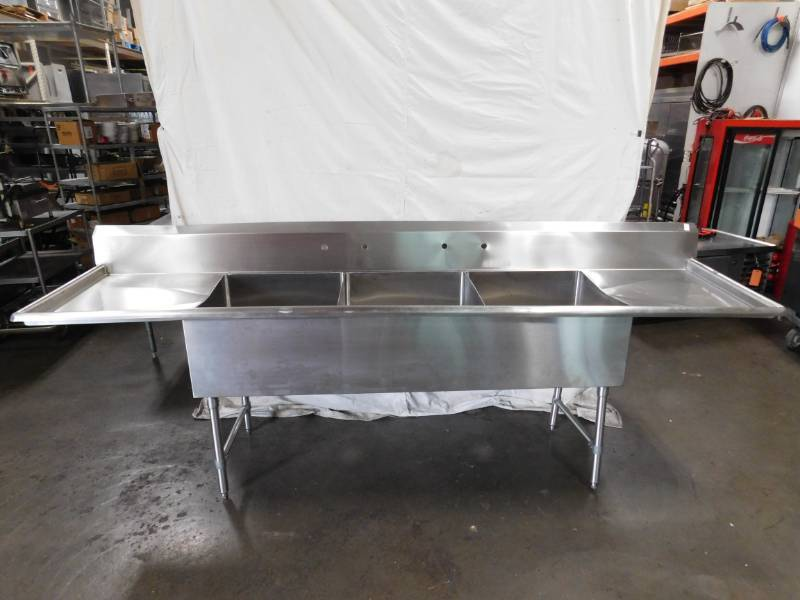 10 Foot 3 Bay Stainless Steel Sink Overstock Restaurant Blowout