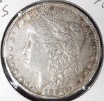 1887 S Morgan Silver Dollar, XF-AU Detail