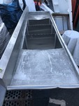 "New stainless steel sink three large dish bays,has some  shipping dents tanks are in perfict  30"" x 10'  as pictured"