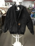 Black Canvas Hooded Zippered Coat XL