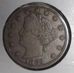 "1883 Liberty Nickel,""V Nickel"", No Cents, AU Detail"