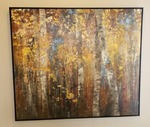 Framed wooded scene wall art