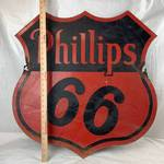 HUGE 2 Foot Tall - Vintage Phillips 66 Enamel Sign - Rare Find!!!!