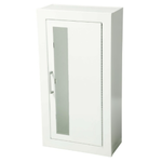 "Fire Extinguisher Cabinet, Vertical Acrylic Window, Semi-Recessed 5.5""D, Steel, 1.5"" Square"