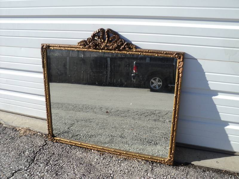 Vintage Ornate Wooden Frame Resin Overlay Mirror Antique