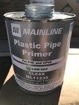 Six large cans of PVC plastic pipe primer for PVC and CPVC