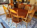Pulaski Apothecary Dining Room Table with Six Spindle Back Matching Chairs