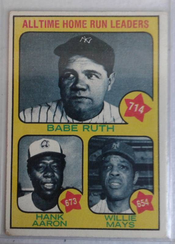 1973 Topps All Time Home Run Leaders Babe Ruth Hank Aaron