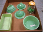 Jadeite Green glassware Lot - Butter dish is chipped