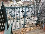 Metal entry gates to apartment building