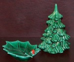 Vintage Lefton Holly Berry Leaf Candy Dish  #1347 & Ceramic X-Mas Tree With Holes for Colored Pegs
