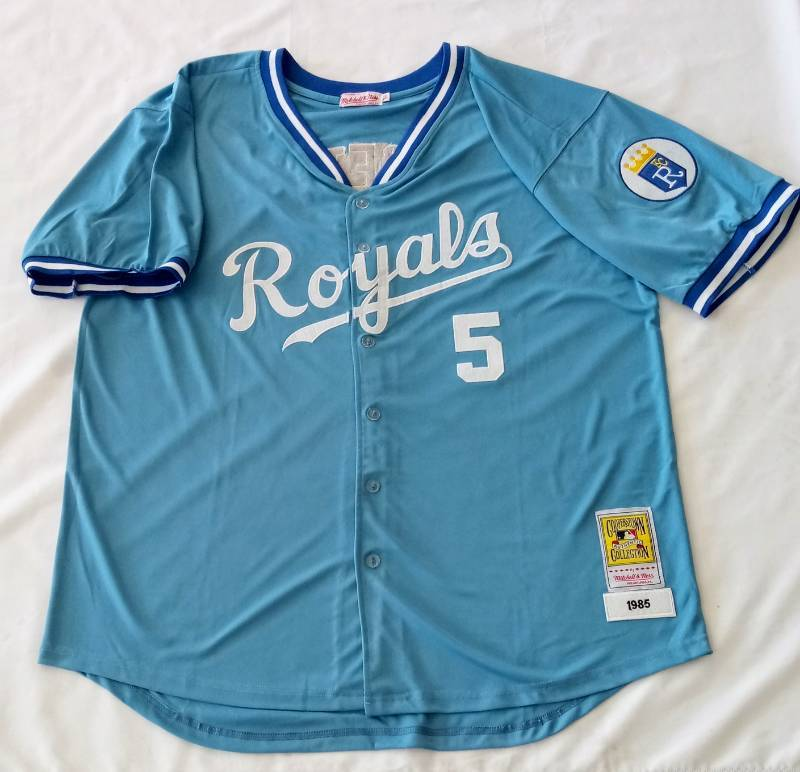 new arrival 28779 1f2ad George Brett Powder Blue Throwback 1985 Button Up Jersey ...