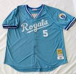 George Brett Powder Blue  Throwback 1985 Button Up Jersey  Kansas City Royals Size 54