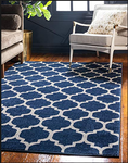 9ft x 12ft Dark Blue/Beige Trellis Area Rug