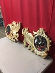 Gold Ornate Pegasus / Elephant Clock Décor