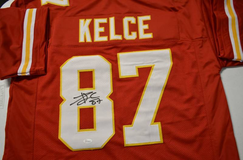 3dbe497df9a Signed Travis Kelce Custom Kansas City Chiefs  87 Jersey With James ...