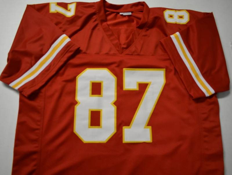 hot sale online 9626c 466ae Signed Travis Kelce Custom Kansas City Chiefs #87 Jersey ...