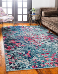 9ft x 12ft Unique Loom Ivy Jardin Pink/Blue Area Rug