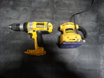 DeWalt drill and DeWalt palm grip sander.