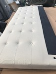 New king size platform bed frame padded headboard as picture very nice apart new for easy pick up