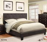 Leeroy Collection CM7200LB-CK-BED California King Size Platform Bed with Button Tufted Headboard European Style Slat Kit Solid Wood Construction and Padded
