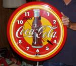 LARGE Coca-Cola Neon Wall Clock - Works! Almost 2 feet across! New in Box!