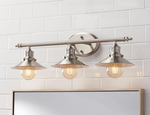 Retro 3 light Vanity Light with Metal Shades : Brushed Nickel