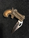 Derringer Shaped Handle of Single Blade Knife
