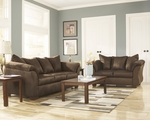 Simmons Upholstery Luna Sofa & Love Seat Set, Chocolate