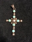 Sterling Cross Pendant with Turquoise Accents