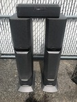 Tall three-piece Sony active speaker set as pictured with built-in power amp