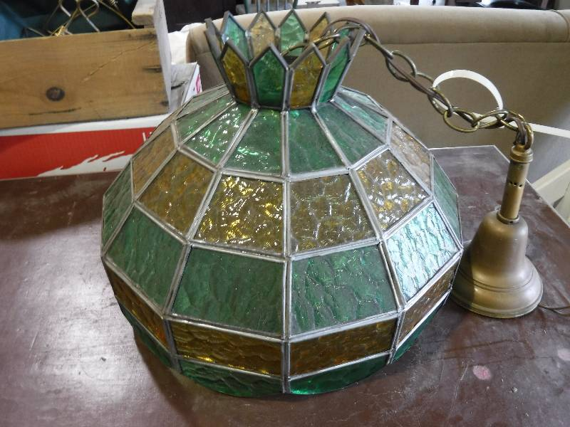 Vintage Stained Glass Hanging Lamp Lawrence Ks